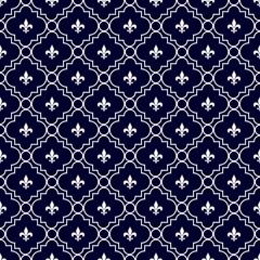 Navy Blue and White Fleur-De-Lis Pattern Textured Fabric Backgro