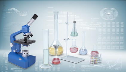 Chemical laboratory equipment. Microscope, flasks and test tubes