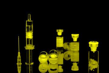 fioles,seringues et aiguilles,recherche médicale