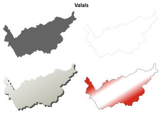 Valais blank detailed outline map set