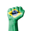 Fist of Brazil flag painted