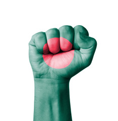 Fist of Bangladesh flag painted