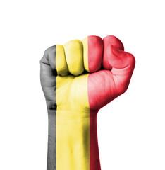 Fist of Belgium flag painted