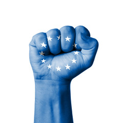 Fist of European flag painted