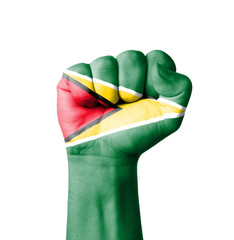 Fist of Guyana flag painted