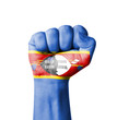 Fist of Swaziland flag painted