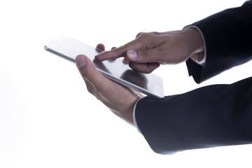 Close up hand of Business man working on digital tablet