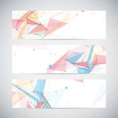 Vector banners set with polygonal abstract shapes, circles,