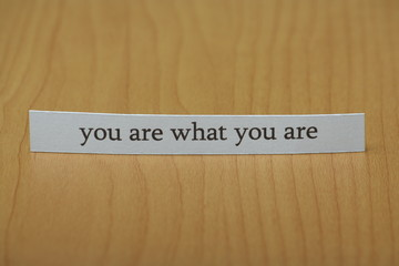You are what you are