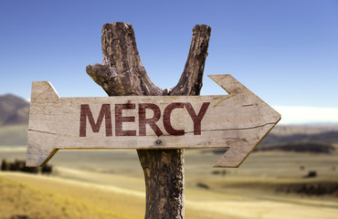 Mercy wooden sign with a desert background