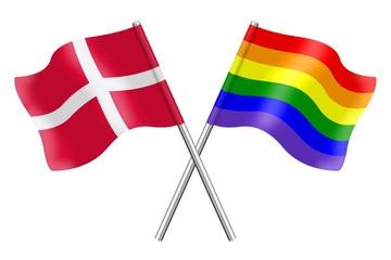 Flags: Denmark and rainbow