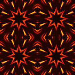 Abstract seamless pattern, fiery stars