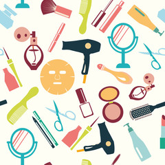 set of make up themed pattern-illustration
