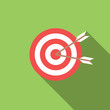icon target with arrows in flat design