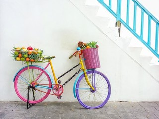Colorful bicycle for exterior decoration