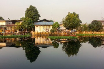 Small old village at riverside in the morning