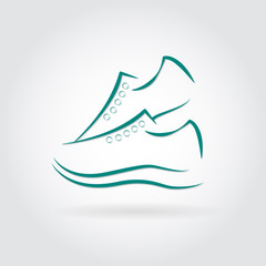 illustartion of Sneakers icon  with shadow