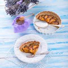 Nectarine tarte with lavender and honey