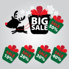 Big Sale New Year and Christmas Reindeer Sticker