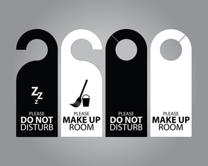 Two Side Black and White Door Hanger Tags for Room in Hotel