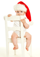 christmas child in a red hat