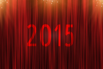 Red curtain and golden stars forward to 2015