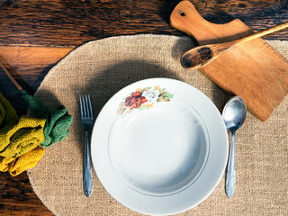 Vintage table setting with rustic dishes