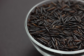 Wild rice in a glass bowl