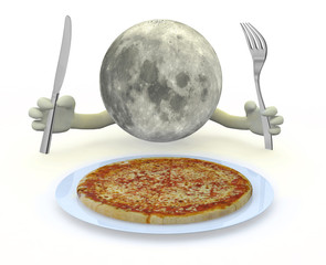 moon planet with hands, fork and knife in front of a pizza dish
