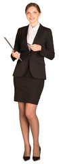 Businesswoman stand holding paper holder and pen