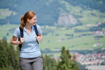 Day Trip in Mountains - Woman with Backpack
