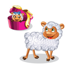 Cute sheep character of chinese new yea