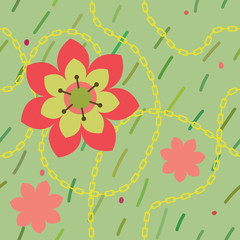 vector green seamless pattern with flowers and chain