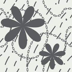 vector seamless pattern with flowers and chain