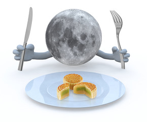 moon planet with hands and utensils in front of an mooncake plat