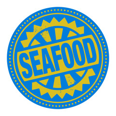 Abstract stamp or label with the text Seafood