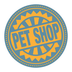 Abstract stamp or label with the text Pet Shop
