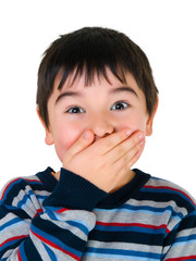 Boy closed mouth with his hand