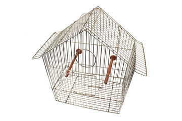 Empty bird cage isolated on white