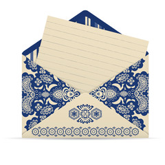 Open decorative cute envelope with letter.