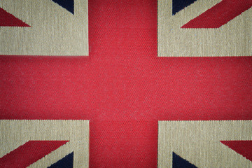 Center of british flag on old canvas texture