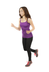 Fitness woman jogging on white background