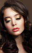 Pure Beauty. Portrait of Young Brunette with Glossy Makeup
