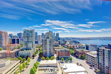 Panoramic view of downtown of Seattle during summer time, Washin