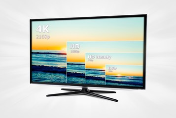 4K television display with comparison of resolutions.