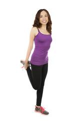 Fitness woman  doing hip flexor stretch