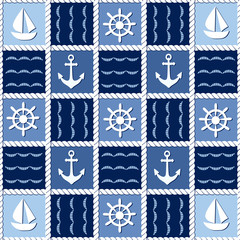 Marine theme. Blue sea seamless pattern