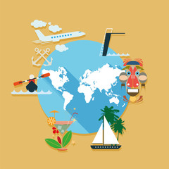 Flat design vector illustration icons set of travel and summer