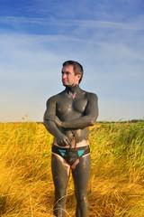 Male medical mud daubed