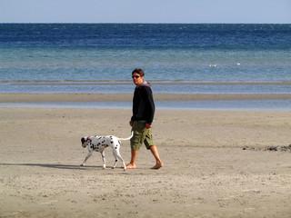 Mann spaziert mit Dalmatiner am Ostseestrand